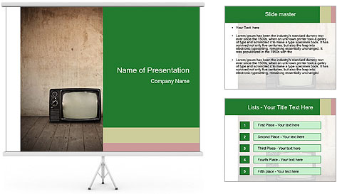 Television in room PowerPoint Template