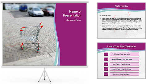 Shopping cart in parking lot PowerPoint Template