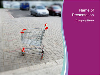 Shopping cart in parking lot PowerPoint Template - Slide 1