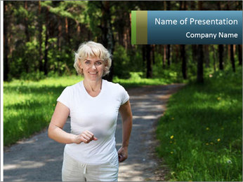 Elderly woman likes to run PowerPoint Template