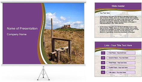 Castle among of  fields PowerPoint Template