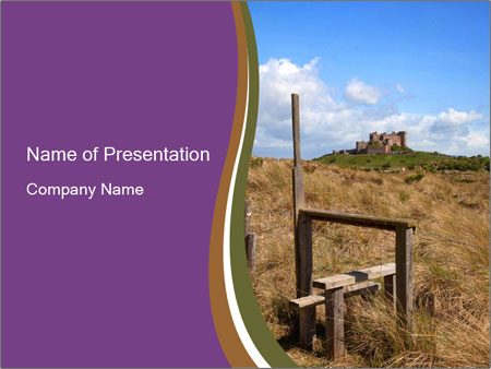 Castle among of  fields PowerPoint Templates