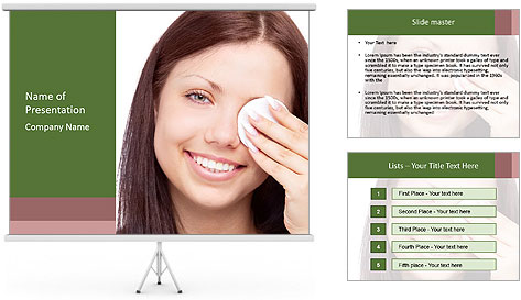 Young brunette woman using cotton pads for removing makeup PowerPoint Template