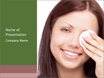Young brunette woman using cotton pads for removing makeup PowerPoint Template - Slide 1