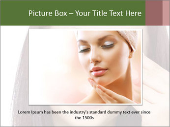 Young brunette woman using cotton pads for removing makeup PowerPoint Template - Slide 16