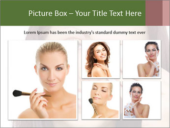 Young brunette woman using cotton pads for removing makeup PowerPoint Template - Slide 19