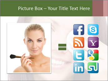Young brunette woman using cotton pads for removing makeup PowerPoint Template - Slide 21