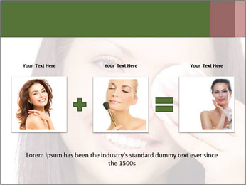 Young brunette woman using cotton pads for removing makeup PowerPoint Template - Slide 22