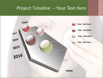 Young brunette woman using cotton pads for removing makeup PowerPoint Template - Slide 26