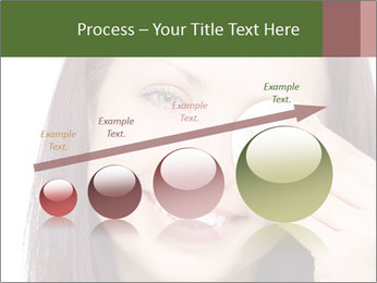 Young brunette woman using cotton pads for removing makeup PowerPoint Template - Slide 87