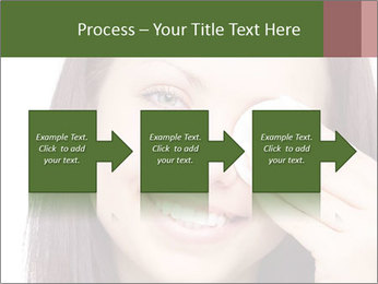 Young brunette woman using cotton pads for removing makeup PowerPoint Template - Slide 88