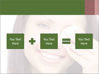 Young brunette woman using cotton pads for removing makeup PowerPoint Template - Slide 95