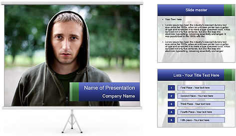 The guy looks thoughtfully PowerPoint Template