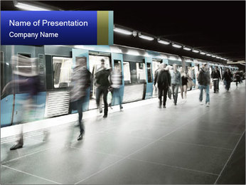 People on subway PowerPoint Templates - Slide 1