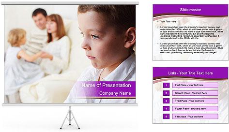 Boy is jealous parents PowerPoint Template