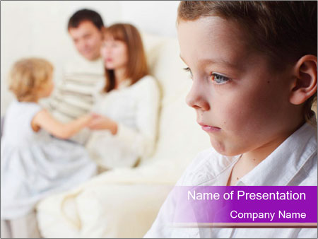 Boy is jealous parents PowerPoint Templates