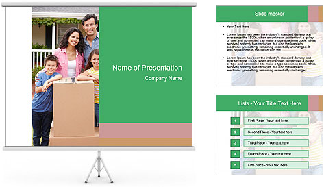 Family into new house PowerPoint Template