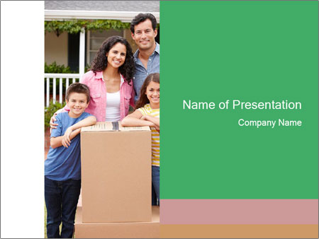 Family into new house PowerPoint Templates