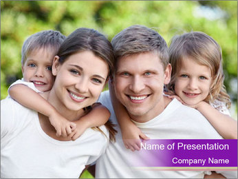 Children with parents PowerPoint Template - Slide 1