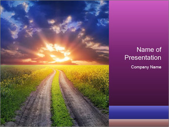 Country road and sunset PowerPoint Template - Slide 1