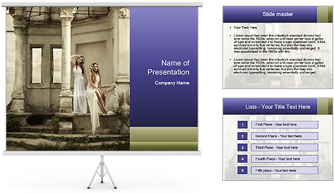 Two young attractivel woman PowerPoint Template