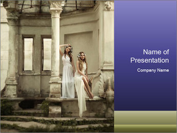 Two young attractivel woman PowerPoint Templates - Slide 1