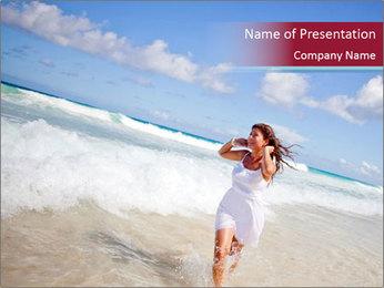 Beautiful woman enjoying PowerPoint Template
