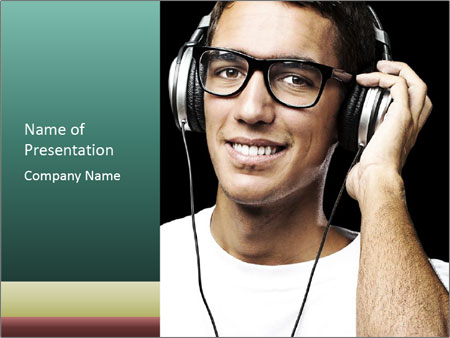 Young man with glasses PowerPoint Templates