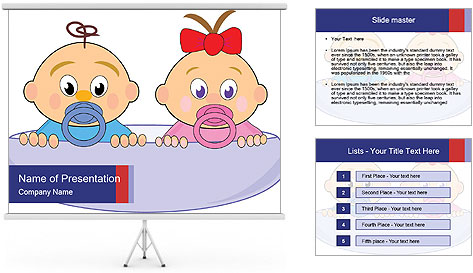 Baby girl with red bow and boy PowerPoint Template