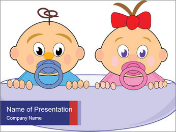 Baby girl with red bow and boy PowerPoint Template - Slide 1