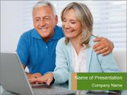 Couple  at laptop PowerPoint Templates