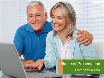 Couple  at laptop PowerPoint Template - Slide 1