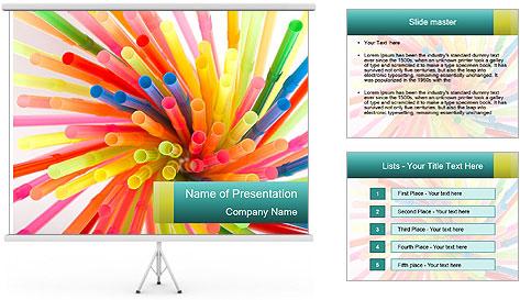 Flexible straws PowerPoint Template