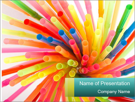 Flexible straws PowerPoint Template