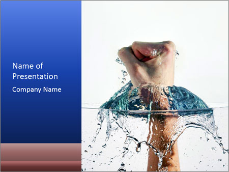 An angry fist punching water PowerPoint Template