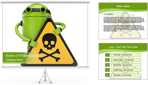 Robot with danger PowerPoint Template