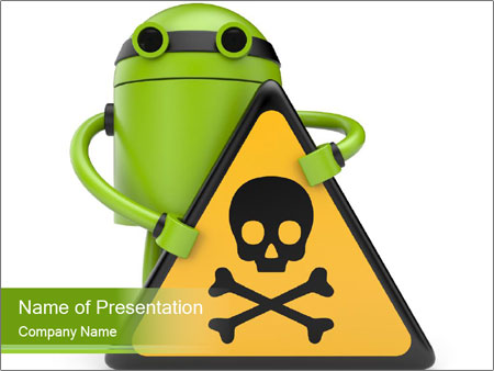 Robot with danger PowerPoint Templates