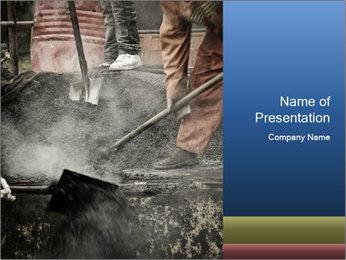 Asphalt worker PowerPoint Templates - Slide 1
