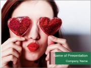 Brunette girl with red hearts PowerPoint Template