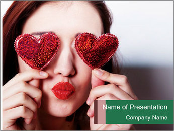 Brunette girl with red hearts PowerPoint Templates - Slide 1