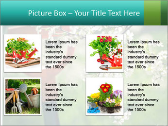Blooming cherry branch and shovel PowerPoint Templates - Slide 14