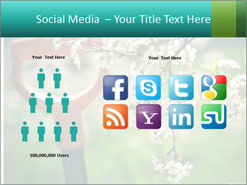 Blooming cherry branch and shovel PowerPoint Templates - Slide 5