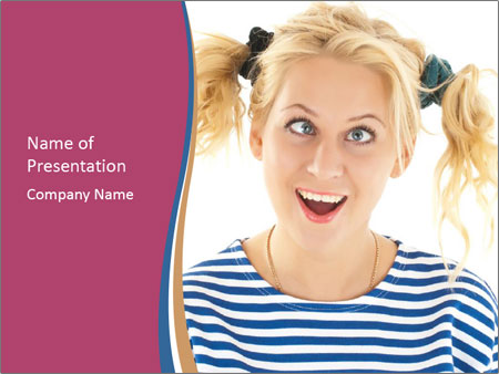 Woman  a funny look PowerPoint Template