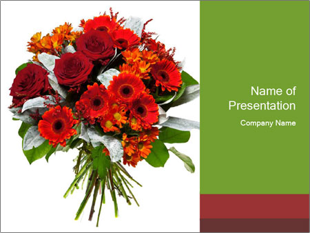 Beautiful gerberas and roses PowerPoint Templates