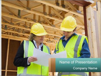 Worker discussing issues at the construction site PowerPoint Template - Slide 1