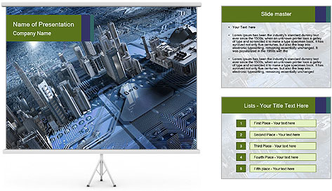 Electronic circuit and city PowerPoint Template