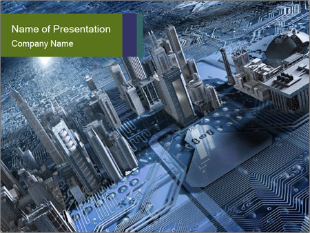 Electronic circuit and city PowerPoint Templates