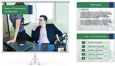 Business assistant flirting PowerPoint Template