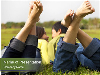 Couple Enjoys Time In Field PowerPoint Template - Slide 1