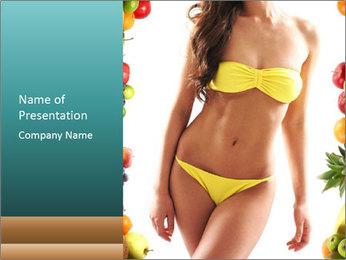 Woman Wearing Yellow Bikini PowerPoint Template - Slide 1